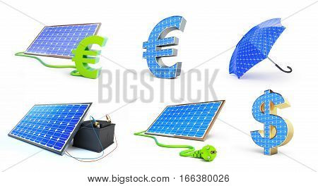set solar green power 3D illustration on a white background