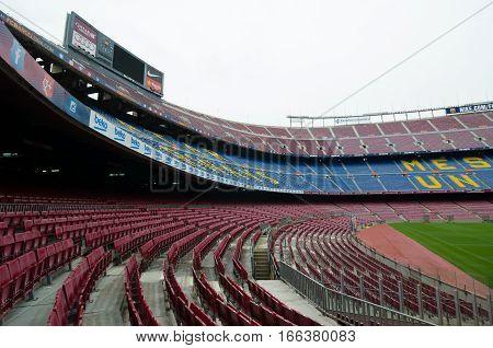 View Of The Tribunes. Camp Nou, Barcelona, Spain.