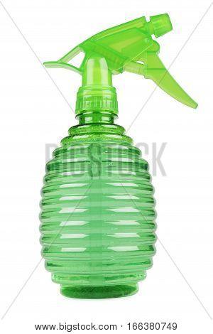 green spray bottle isolated on white background