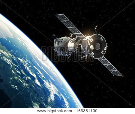 Spacecraft Orbiting Planet Earth. Realistic 3D Illustration.