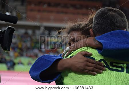 Rio Brazil - august 08 2016: Rafaela Silva of Brazil (BRA) judo gold medal up to 57 Kg women of the Rio 2016 Olympics held at the Carioca Arena 2.