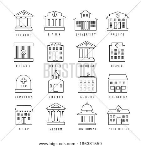 Government buildings lined signs. Firehouse and courthouse, library and city bank outline icons. Theatre and university, hotel and shop. Vector illustration
