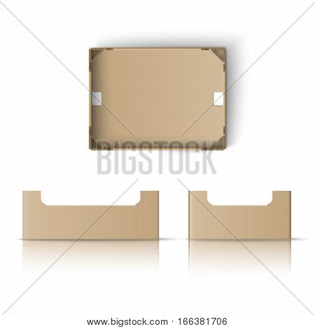 Realistic box template. Box for fruit and vegetables