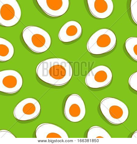 Easter egg pattern. Vector yellow eggs on green delicious spring background. Seamless background with cut easter eggs illustration