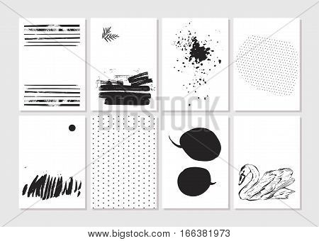 Had made vector Creative fashion glamour hand drawn template card set. Vector collection of black white textured cards. Beautiful posters with geometric shapes.Design for valentine dayjournaling