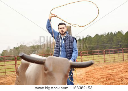 Man Training Making Loope And Throwing Lasso To Bull Simulator