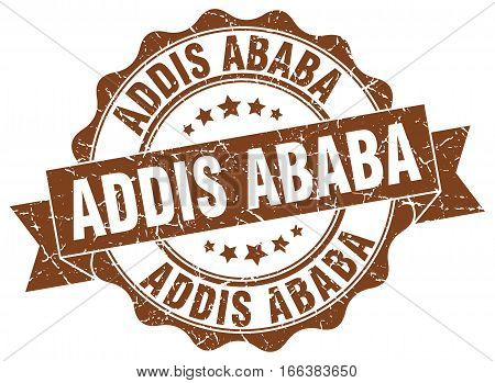 Addis Ababa. round isolated grunge vintage retro stamp