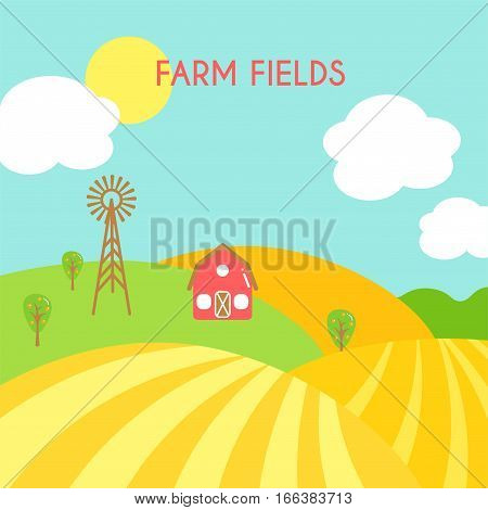 Farm fields landscape. Cartoon green field of sowing. Summer scene with hills and land. Flat argiculture collection.