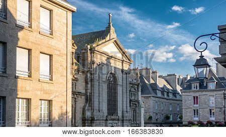 Saint-Malo city center view with stone buildings, Bretagne France