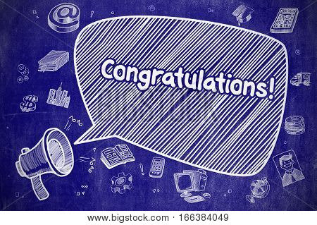 Shrieking Bullhorn with Phrase Congratulations on Speech Bubble. Doodle Illustration. Business Concept.