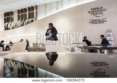 Working Moments During World Economic Forum In Davos