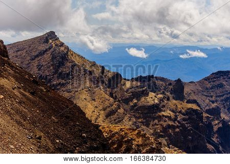 Landscape View Of Volcanic Mountains In Tongariro, New Zealand