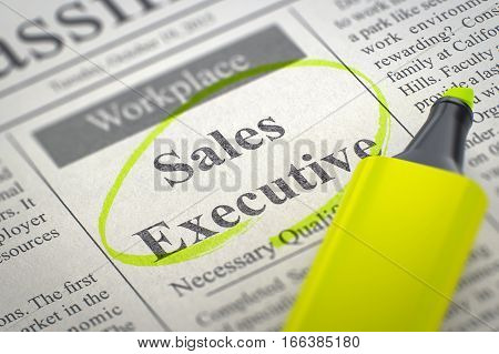 Sales Executive. Newspaper with the Jobs Section Vacancy, Circled with a Yellow Marker. Blurred Image with Selective focus. Job Seeking Concept. 3D Render.