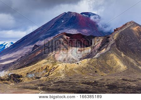 Volcanic Landscape With Red Crater And Mt Ngauruhoe, Tongariro, Nz