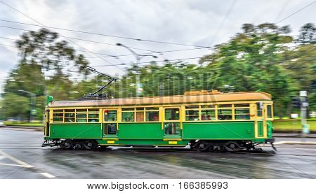 Heritage tram on La Trobe Street in Melbourne, Australia. Melbourne tram system is the largest urban tramway network in the world