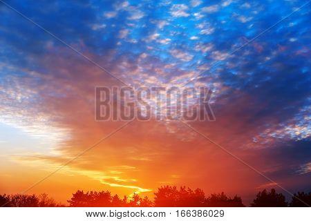 early morning multi colored summer sunrise Ukraine