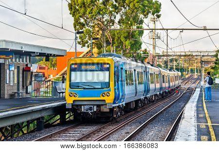 Melbourne Metro Train at Victoria Park railway station