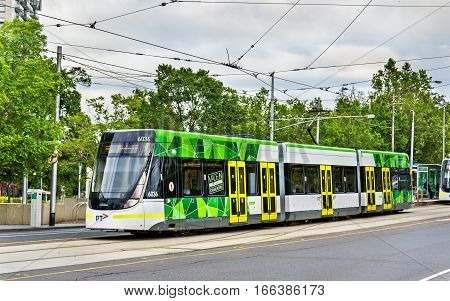 Melbourne, Australia - December 29, 2016: Bombardier E Class tram at Parliament Station. Melbourne tram system is the largest urban tramway network in the world
