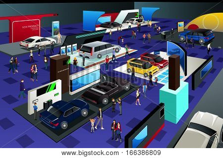 A vector illustration of People Attending an Auto Show