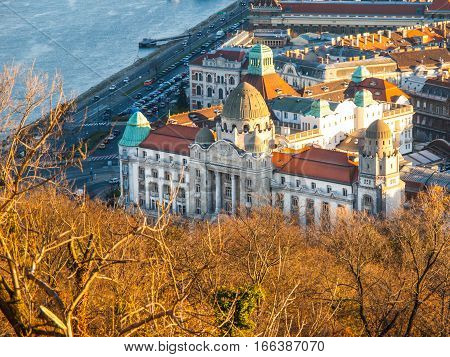 Aerial view of Gellert thermal spa historical building from Gellert Hill, Budapest, Hungary, Europe.