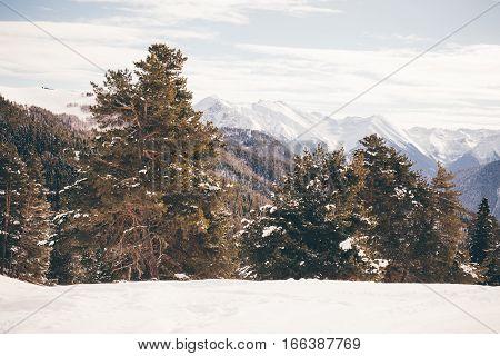 Winter Mountains Panorama With Ski Slopes. Caucasus.