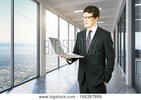 businessmen with laptop. Close up. Technology and communication concept. 3D Rendering
