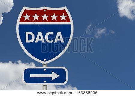 DACA USA Interstate highway sign Red white and blue interstate highway road sign with text DACA with sky background 3D Illustration