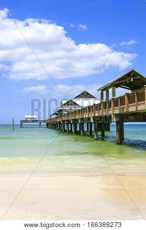 Clearwater, FL, USA - April 21: The Clearwater beach pier in Florida