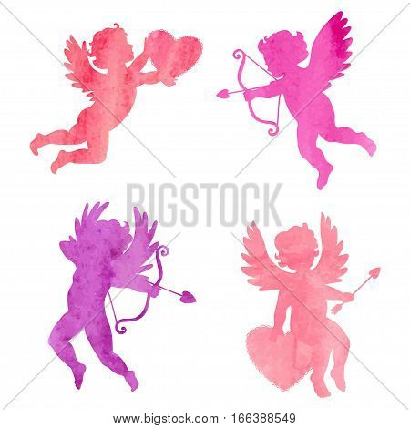Set of Cupids isolated on white. Cute angels. Valentines Day design. Vector illustration.