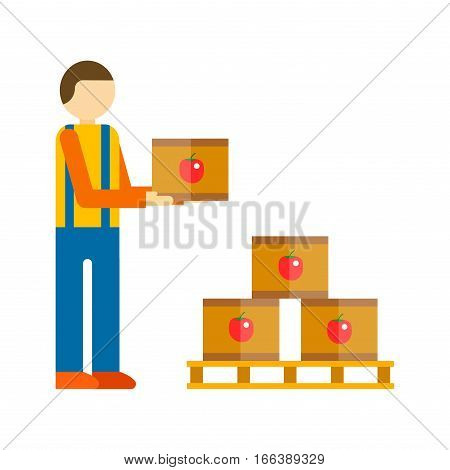 Workman delivers boxes isolated on white background. Loader with package freight transportation shipping service. Warehouse male package mover vector.