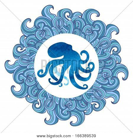Octopus vector illustration. Blue octopus silhouette in waved frame.