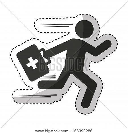 paramedic running isolated icon vector illustration design