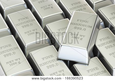 rhodium ingots background 3D rendering isolated on white background