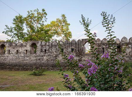 Kangra Fort, the ancient walls and battlements. Himachal Pradesh, district of Kangra, India.