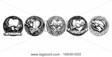 Vector hand drawn illustration set of different Valentines hearts in old fashioned etched style. Black and white. isolated on white.