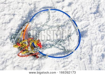 Snow Chains On The Road