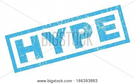 Hype text rubber seal stamp watermark. Caption inside rectangular banner with grunge design and unclean texture. Inclined vector blue ink sign on a white background.