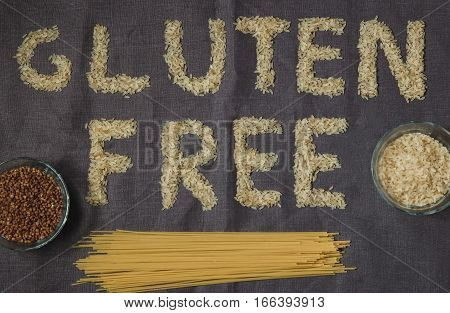 rice gluten free word with gray background