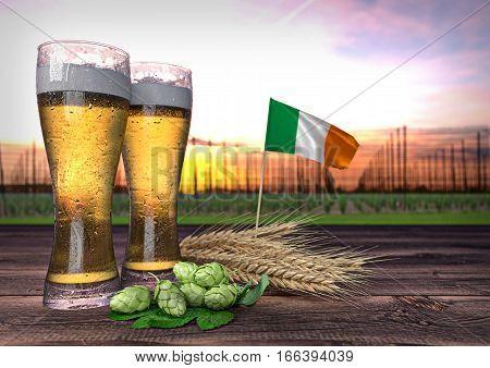 concept of beer consumption in Ireland- 3D render