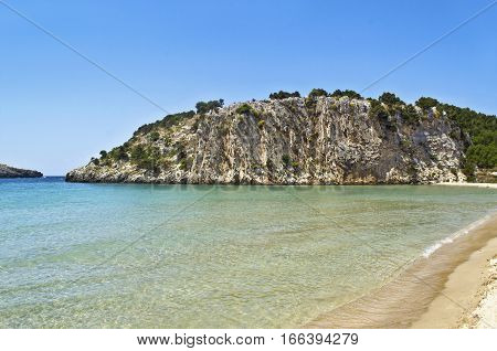landscape of Voidokilia beach Messinia Peloponnese Greece