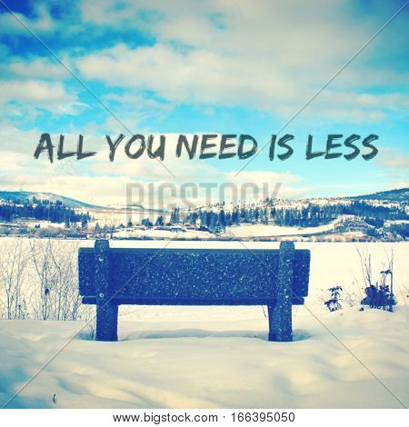 Winter Landscape Inspirational Quote With Park Bench