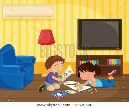 illustration of kid in a room
