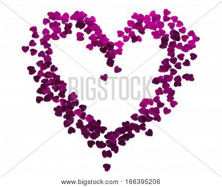 Heart silhouette made of red confetti isolated over white