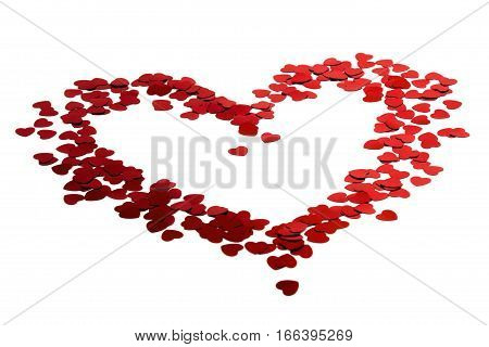 Confetti of hearts in the form of heart. Isolated on white background.