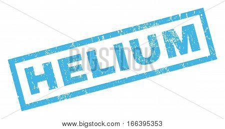 Helium text rubber seal stamp watermark. Tag inside rectangular shape with grunge design and scratched texture. Inclined vector blue ink sign on a white background.