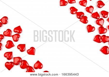 Corner frame made of hearts, isolated on white background, Valentines day concept