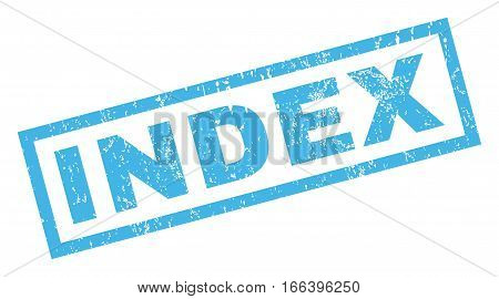 Index text rubber seal stamp watermark. Tag inside rectangular banner with grunge design and dust texture. Inclined vector blue ink sticker on a white background.