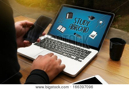 Study Abroad Thoughtful Male Person Looking To The Digital Tablet Screen, Laptop Screen,silhouette A