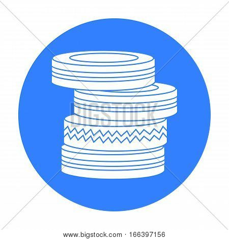 Barricade from tires icon in outline design isolated on white background. Paintball symbol stock vector illustration. - stock vector