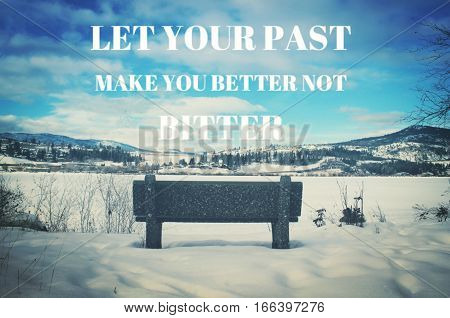 Inspirational Quote On Winter Lake Landscape
